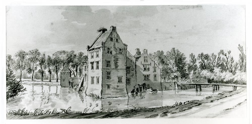 Kasteel Schalkwijk in Schalkwijk. Tekening Jan de Beijer